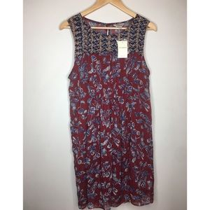 Lucky Brand floral sleeveless chiffon dress NWT L